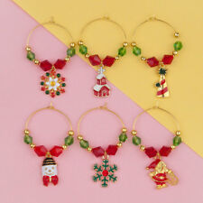 6 MIXED GOLD PLATED CHRISTMAS ENAMEL WINE GLASS CHARMS~Includes gift box (G)