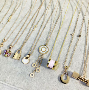 Wholesale 10pcs Mixed Luxury 18K GP Stainless Steel Women's Pendant Necklace