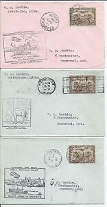 December 9 1929 Canada FFC Petite Cover Lot of 3 - Experimental flight Service