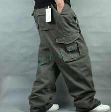 Mens Loose Trouser Cargo Overalls Leisure Baggy Carpenters Causal Long Pants