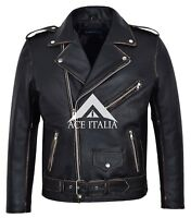 BRANDO DISTRESSED Men's BLACK Designer Fitted Real Cowhide Leather Biker Jacket