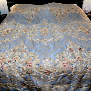 Vintage Croscill Queen Comforter Gold Floral Double Sided Gray EUC rare