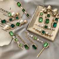 Girl Women Fashion Retro Green Rhinestone Pearl Hair Clip Pins Accessories