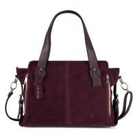 Bag Boston Split Suede Leather Authentic Vintage Handbag Satchel Purse
