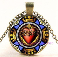 Christian Sacred Heart Photo Tibet Silver Cabochon Glass Pendant Chain Necklace