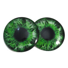 Pair of 40mm Intense Green Glass Eyes Set - Big Doll Parts Jewelry Making Craft
