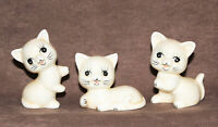 "Vintage Bone China Kitten Figurines (3) White Yellow Taiwan 3"" & 2"" Tall"