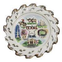 "Vintage Souvenir Plate Texas The Lone Star State Roadside Travel 6"""