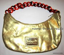 BETSEYVILLE Betsey Johnson GOLD Metallic Lips Logo Print Purse Bag Satchel