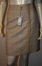 ADRIENNE VITTADINI Bone White Plaid Wool Skirt NWT 8 $250 Sheepskin Trim