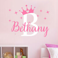 Custom Name Personalised Nursery Wall Decal Crown Girls Bedroom Wall Sticker