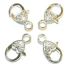 MX7203p Bright Silver Large 26mm Heart Design Lobster Claw Focal Clasp 25/pkg