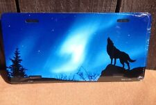 Northern Lights Howling Wolf Novelty License Plate Bar Wall Decor