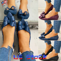 Fashion Women Hollow Out Pumps Shoes Bowknot Sandals Pointed Toe Flats Casual US