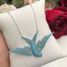 925 Silver AAA Quality Jewelry Micro-Pave Turquoise SWALLOW Pendant & Necklace