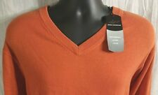 Greg Norman Mens Large Orange Cotton Golf V-Neck  Sweater New with Tags $79 msrp