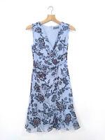 JACQUI E Dress Blue A-Line Blue Floral Faux Tie Front Blue Chiffon EUC Size 6