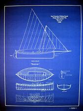 "Vintage Sailboat Fishing Boat 1908 San Francisco Blueprint Plan 24""x29""    (073)"
