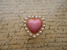 Gold Pink Heart Pearl White Valentines Love Costume Jewellery Ring + Gift Bag