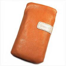 Housse Etui Pochette Protection façon cuir orange pour mobiles 128 X 68mm maxi