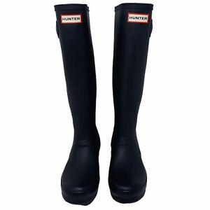 Hunter Original Tall Rain Boots Black Matte Rubber Women's Size 8