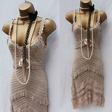 KAREN MILLEN CREAM CROCHET FLAPPER CHARLESTON 20s VINTAGE GATSBY Dress 3(12 UK)