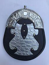 Scottish Kilt Sporran, Silver & Black Cross + Belt Set