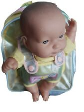 """Vintagebaby boy 13"""" Vinyl Berenguer with gray blue eyes Baby Doll with bag"""