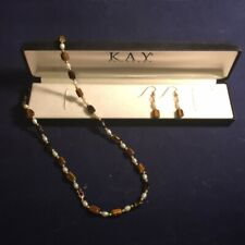 KAY JEWELERS - Pearl & Tiger Eye Necklace & Earrings Set