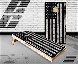 Gray Distressed American Flag Cornhole Boards Bean Bag Toss Game