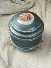 Vintage Thorens Steel Blue 1940's Metal Powder Puff Music Box Switzerland