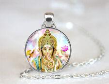 Lucky Ganesh elephant Hindu shiva gods Necklace pendant hinduism meditation