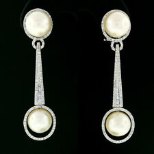 14k White Gold 9.9mm Round Cultured Pearl & 1.45ctw Diamond Drop Dangle Earrings