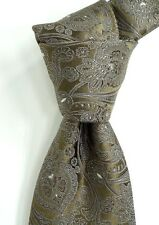 $160 CANALI Brown Square Silk Neck Tie w/ Tonal Woven Paisley ITALY NWT Skinny