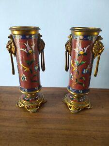 rare et superbe paire de vase en émaux cloisonnés monture bronze XIX éme