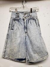 Vtg 80s Jordache Womens 9 / 10 High Waisted Acid Wash Pleated Denim Shorts Jean