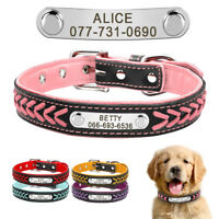Braided Engraved Personalised Dog Collars Soft Padded Leather Collar Name Tags