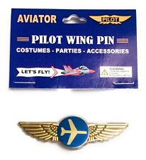 TOP GUN NAVY JET PILOT KIDDIE WINGS PINS 2 KIDS GOLD AND SILVER PARTY FAVORS