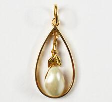 Aparter kleiner Anhänger 14 Karat 585 Gold Gelbgold Flussperle Perle 0,74 g