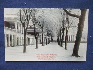 1910s Charlottesville Virginia University West Lawn Rotunda Winter Snow Postcard