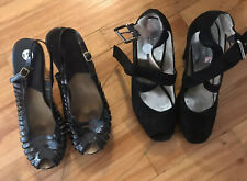 Michael Kors Shoes Pumps Womens Heels  Black Leather And Black Suede Size 8.5