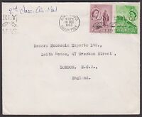 Mauritius 1963 airmail cover to England endorsed 2nd Class Air Mail, QEII