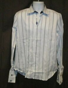 ROBERT GRAHAM  Blue White Striped Shirt Medium 15 1/2  39 French Cuff