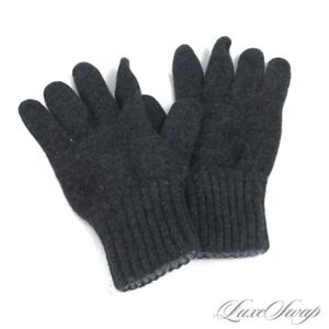 #1 MENSWEAR Drakes London Charcoal Grey Ribbed Soft Knitted Winter Gloves NR