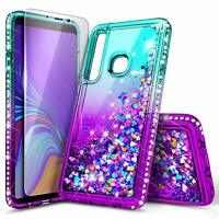 For Samsung Galaxy A30 / A20 | Glitter Liquid Bling Case Cover + Tempered Glass