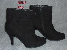 ♥PROMO ♥ Bottines boots a haut talon chaussure femme Noir Neuf P 40 daim velours