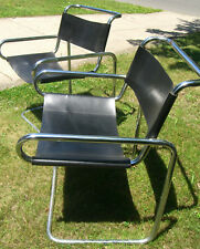 Bauhaus/Mies Van Der Rohe Style Tubular Chrome/Blk Leather Cantilever Chair 1960