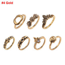 Bohemian Women Hollow Flower Carved Totem Turquoise Midi Knuckle Finger Ring Set #4 Gold