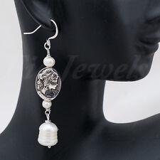 Orecchini stile antico cammei perle naturali argento 925 Gioielli Artigianali