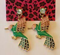 Betsey Johnson Crystal Rhinestone Bird Post Earrings